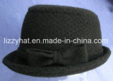 Fashion jacquard Knitted Wool Hat with Bow/Bucket Hat Black