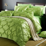 Pinch Pleat Pintuck Design Luxury Soft Brushed Silk Duvet Cover Set
