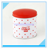 Round Gift Packaging Tin Box with Red Lid