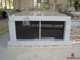 2 Crypt G603 Grey Granite Mausoleum with Black Shutter