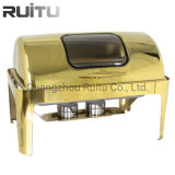 Party Full Golden Roll Top Oblong Dessert Food Warmer Set All Types Chafing Dishes with Window South Africa in Gold Chaffer Buffet Catering Chafing Dish