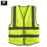 Reflective Fluorescent Night Worker Safety Uniform Pockets Design Breathable Yellow Green Low Price Sleeveless Jacket Vest