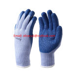 Rubber Latex Coated Work Gloves for Construction, Blue, Crinkle Pattern
