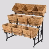 3-Tier Metal Foldable Supermarket Fruit and Vegetable Display Rack for Retail Store