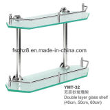 Two Layer Stainless Steel Glass Shelf Towel Rack (YMT-32)