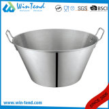 Stainless Steel Restaurant Kitchen Sanded Inclined Chef Cook Dish with Two Riveted Handle