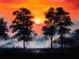 Modern Sunset View Canvas Handmade Oil Painting
