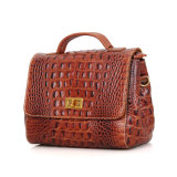 Newest Design Good Quality Brown Croc Print Leather Shoulder Tote Bag for Ladies
