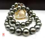 11-12mm Sea Water Black Tahitian Pearl Necklace