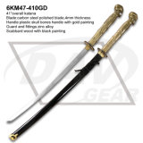 "41"" Plastic Skull Bone Handle Carbon Steel Blade Katana Sword"