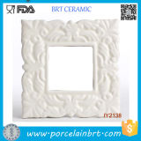 Decent High White Ceramic Flower Pattern Photo Frame