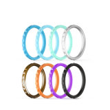 Custom Silicone Ring Narrow Diamond-Print Edgy Wedding Ring