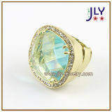 Wholesale Alloy Gold Plating Glass Stones Stretch Fashion Jewelry Ring