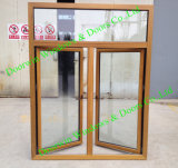 As2047 Standard Teak Wood Aluminium Window, Solid Teak Wood Window for high-End Villa, Multiple Wood Color Aluminum Casement Window