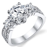 Sterling Silver & CZ Setting Style Engagment Ring