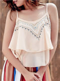 Fashion Embroidered Ruffled Cami Tank Top for Women
