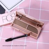 Waterproof Makeup Eyeliner Cosmetic Brush+Mirror 2 in 1 Brown Black Eyebrow Powder