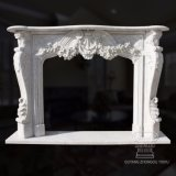 French Inspired Marble Fireplace Mantel, Rococo Baroque Style, Heavily Carved