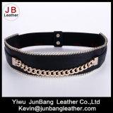 Fashion Women's Metal Elastic Belt with Chain Edge