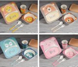5 in 1 Bamboo Fiber Children Dinner Set Natural Baby Tableware