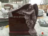 Red Granite Angel Carving Headstone/Monument/Tombstone