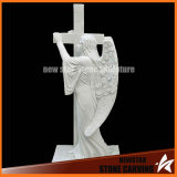 White Granite Tombstone with Cross Artangel for Graveyard Ts005