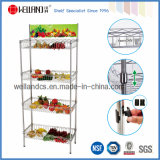 4 Tiers Vegetables Supermarket Display Basket Rack with Advertisement Holder