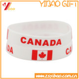 Solid Color Silk Screen Print Canada Flag Silicone Wristband (XY-ST-013)