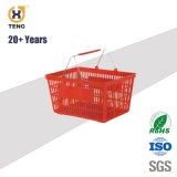 Plastic Supermarket Shopping Basket with Metal Handle