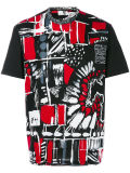 Men′s Red and Black Abstract Printed T-Shirt