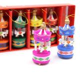 Desktop Decoration Ornament Merry-Go-Round Wood Craft Children Toy Christmas Gift