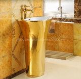 Good Quality Ceramic One Piece Gold Color Wash Basin Bathroom Pedestal Golden Face Basin Sink Price