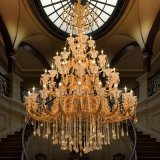 Antique Brass or Golden Color Zinc Alloy Chandeliers with High Quality Crystal Decorative for Hotel or Villa Use