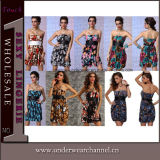 High Quality Summer Fashion Party Sleeveless Printed Ladies Dress (TXY2221)
