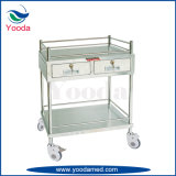 Stainless Steel Hospital Trolley with Two Drawer