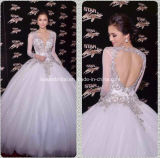 Romantic Long Sleeve V-Neck A-Line Floor Length White Tulle Beading Wedding Gown W1471943