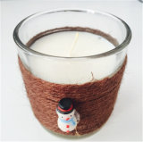 Clear Glass Cup Christmas Decoration with Raffia Rope
