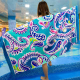 Wholesale Customized 170X85cm 640g100% Pure Cotton Active Printed Formaldehyde-Free Lead-Freeterry Velvet Swimming Yoga Sports Surfing Beach Towel Bath Towel