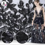 Feather Handmade Embroidered Black Dress Lace Custom Embroidery Fabric