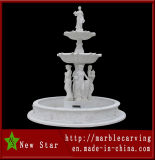 White Marble Stone Carving Water Fountain for Garden Decoration (NS-1002)