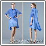 Latest Dress Design Women Ladies Fashion Chiffon Satin Long Shirt Dress