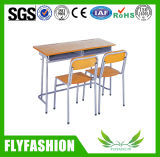 Cheap Popular Classroom Furniture Double Desk and Chair