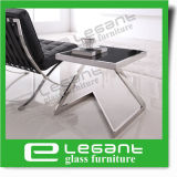 Small Stainless Steel End Table with Tempered Glass Top