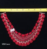 38*27cm Red Scalloped Embroidery Lace Collar, Banquet Women Dress Neckline Applique Hme961