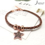 Factory Mixed Wholesale Fashion Women Jewelry Diamond Star Charm Leather Woven Bracelet