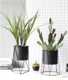 Antique Black Metal Steel Garden Decor Flower Bucket Stand Wrought Iron Balcony Planter Pot