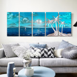 Coconut Tree Seascape 3D Metal Oil Painting Hanging Art Inner Modern Home Wall Decoration