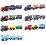 Three-Section Wooden Painted Animal Train, Wooden Splicing Magnetic Train