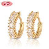 Fashion Silver Alloy 18K Gold Plated Hoop Huggie CZ Earrings with Pearl Crystal for Women