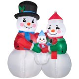 Inflatable Snow Man Family Decoration in Garden